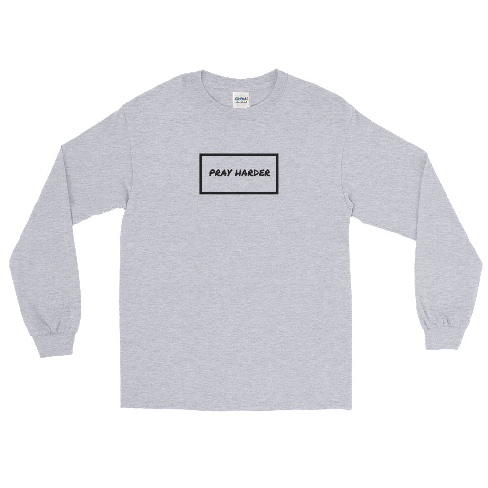 """Pray Harder"" Long Sleeve Tee - Aligned Blessings.com"