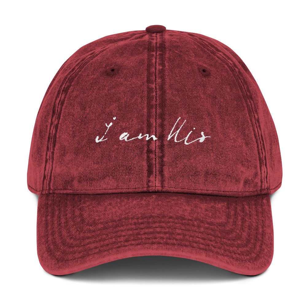 """i am His"" Vintage Twill Hat - Aligned Blessings, LLC"