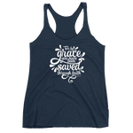 """Saved Through Faith"" Racerback Tank - Aligned Blessings, LLC"