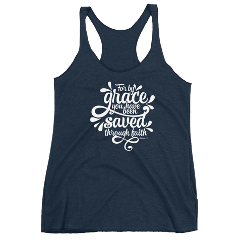 """Saved Through Faith"" Racerback Tank - Aligned Blessings.com"