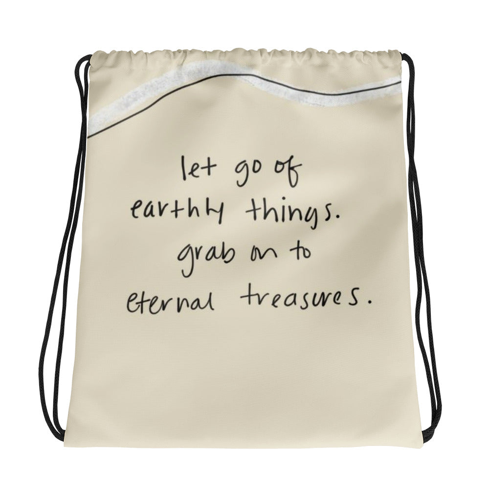 """let go"" Drawstring Bag - Aligned Blessings.com"