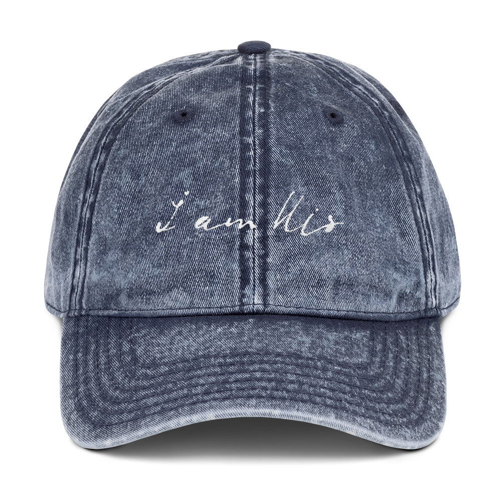 """i am His"" Vintage Twill Hat - Aligned Blessings.com"