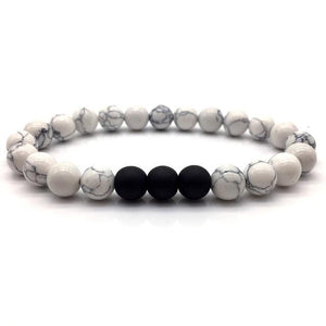 """White With Black"" Natural Stone Bracelet"