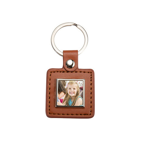 Brown Square Leather Photo Keyring