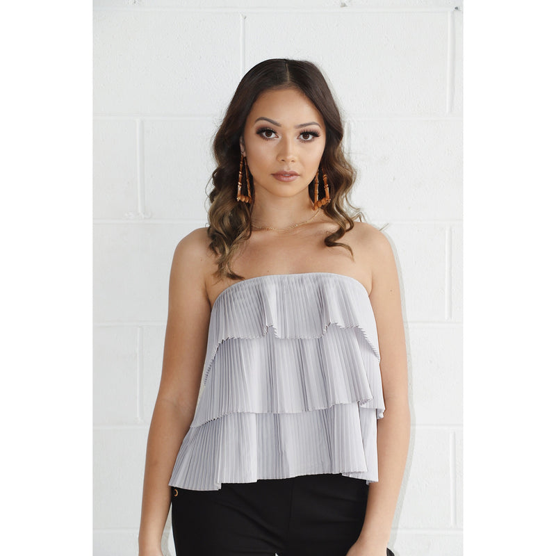 Lilac Strapless Ruffle Top - About Last Night