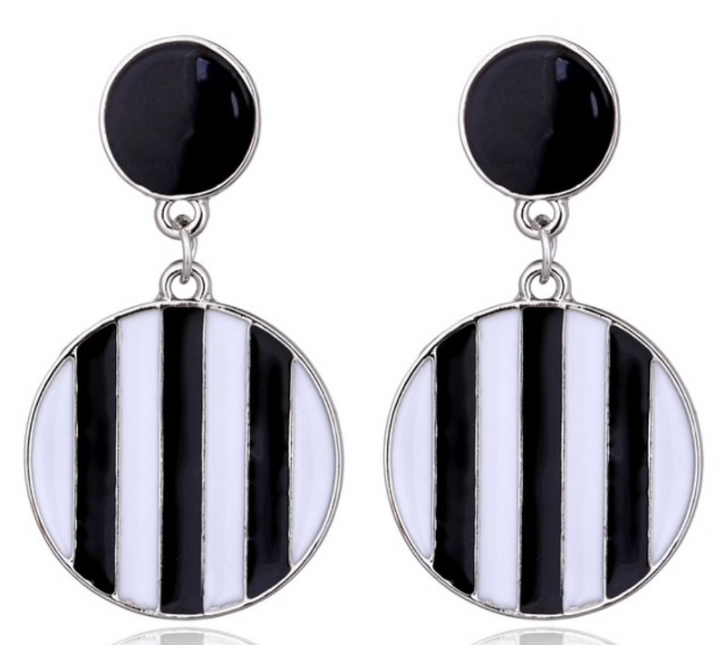 Mod Stripe Drop Earrings - About Last Night