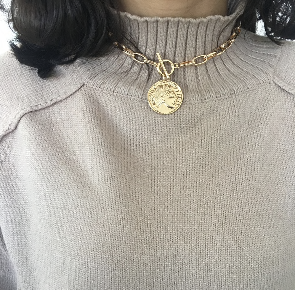 Coin Oversize Chain Choker - About Last Night