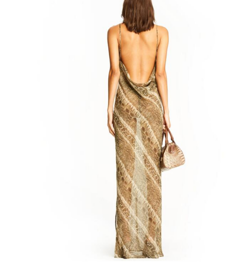 Love Myself Snake Print Mesh Maxi Dress - About Last Night