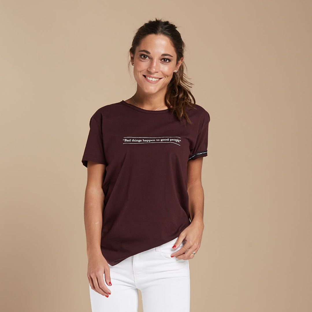 "Camiseta mujer cashmere ""Bad things happen to good people"" - Blinded Soul"