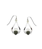 Claddagh Connemara Marble Silver Drop Earrings