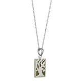 Pendant Fairy Tree silver silhouette with Connemara Marble background