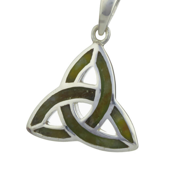 Trinity Knot Pendant For Women In Silver And Connemara Marble