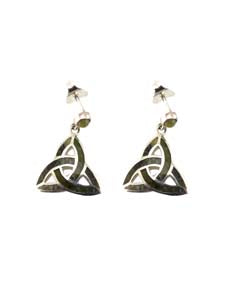 Trinity Knot Earrings For Women In Silver And Connemara Marble