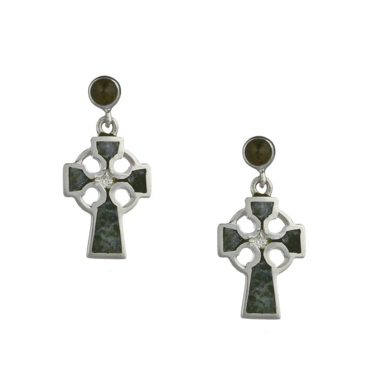 Celtic Cross Earrings Connemara Marble