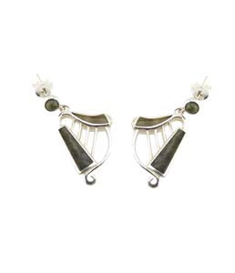 Harp Earrings Silver Connemara Marble