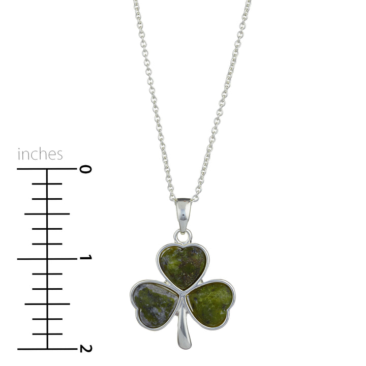 "Shamrock Rhodium Plated Pendant (Irish Connemara Green Marble + 18"" Rhodium Plated Chain)"