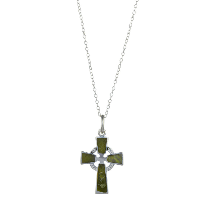 Celtic Cross Pendant, Sterling Silver Connemara Marble