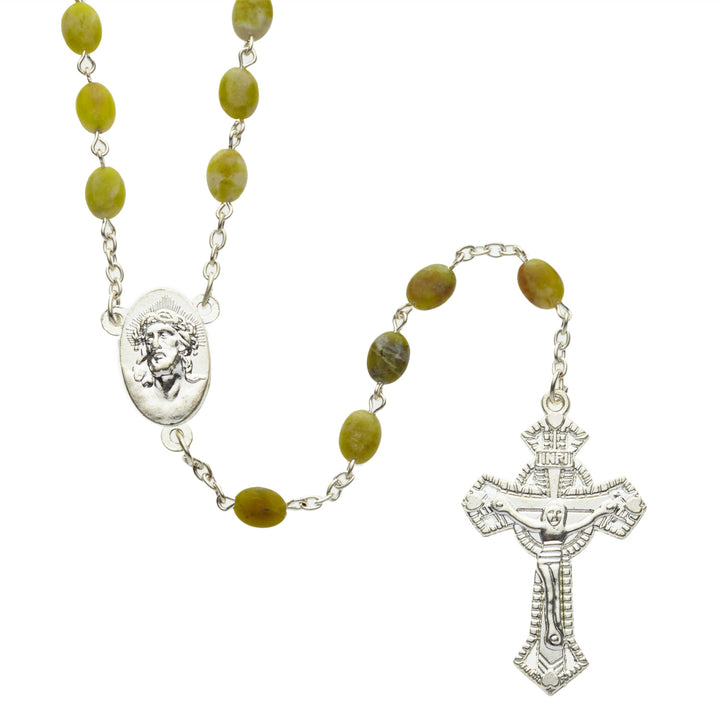Connemara Marble Rosary, with Traditional 'West of Ireland' Crucifix Design