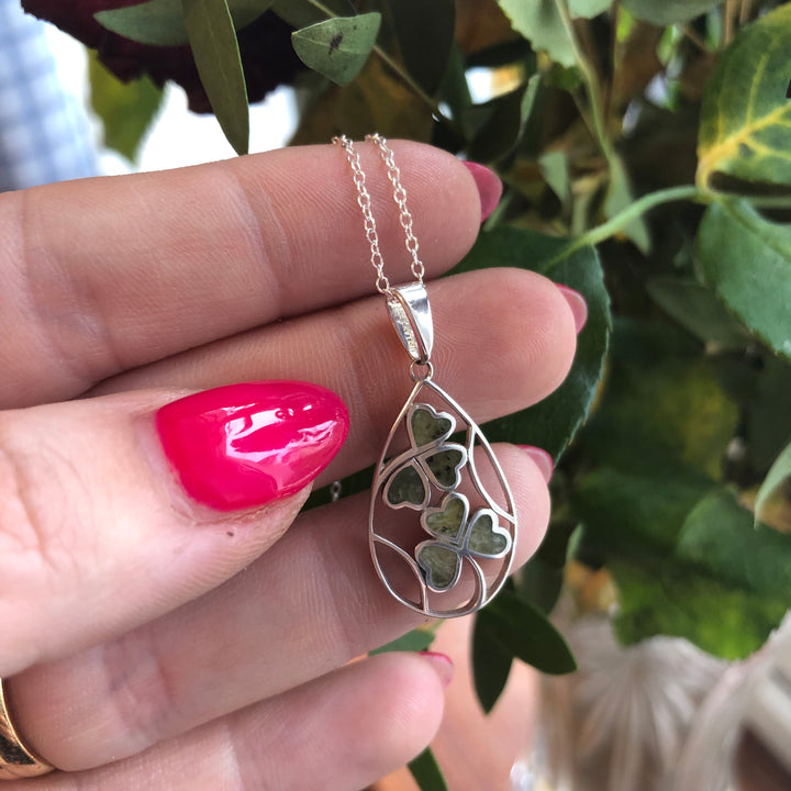 Shamrock spray Sterling Silver Connemara Marble Pendant