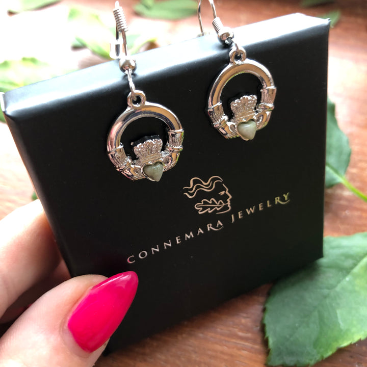 Claddagh Drop Earrings Rhodium Plated with Irish Connemara Marble