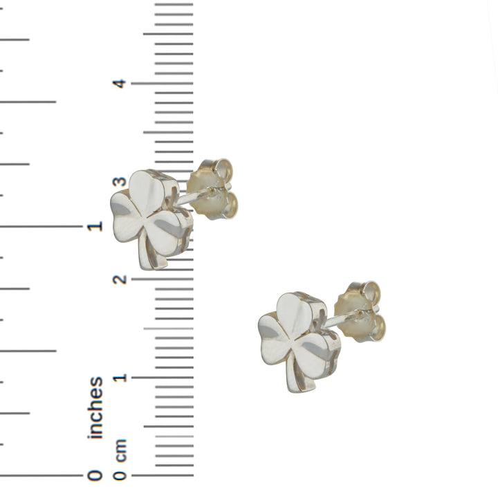 Shamrock Stud Earrings In Sterling Silver For Women