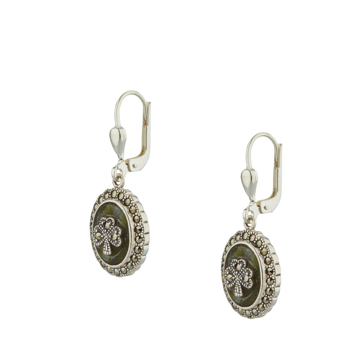 Shamrock Earrings For Women In Silver with Marcasite and Connemara marble Drop style