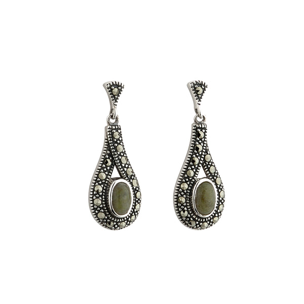 Connemara Marble Earrings For Women In Silver and Marcasite