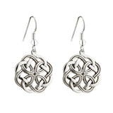 Celtic Knot Earrings, Rhodium Plated