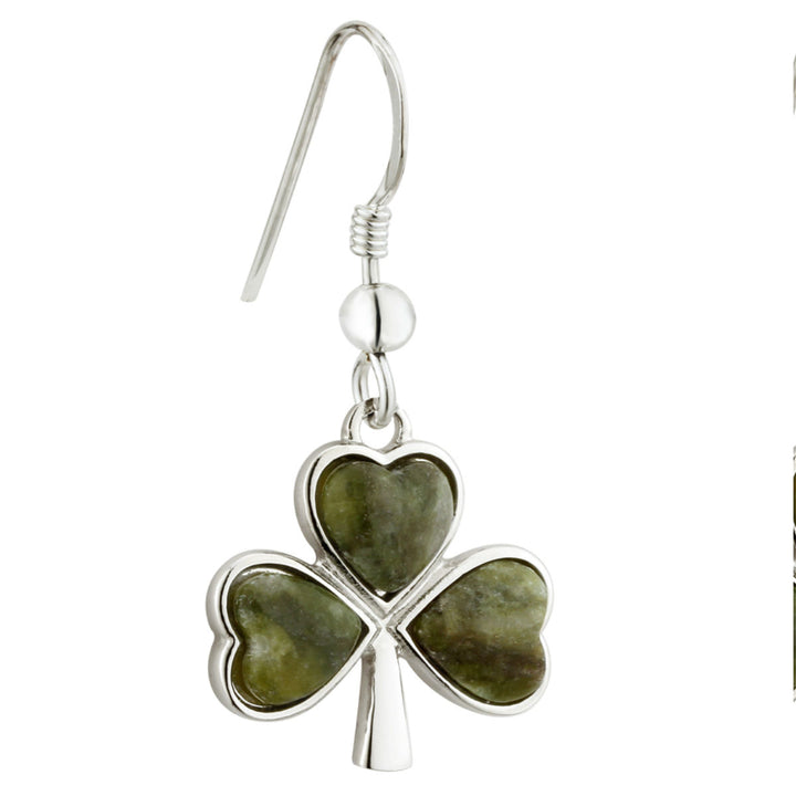 Shamrock Earrings For Women With Connemara Marble