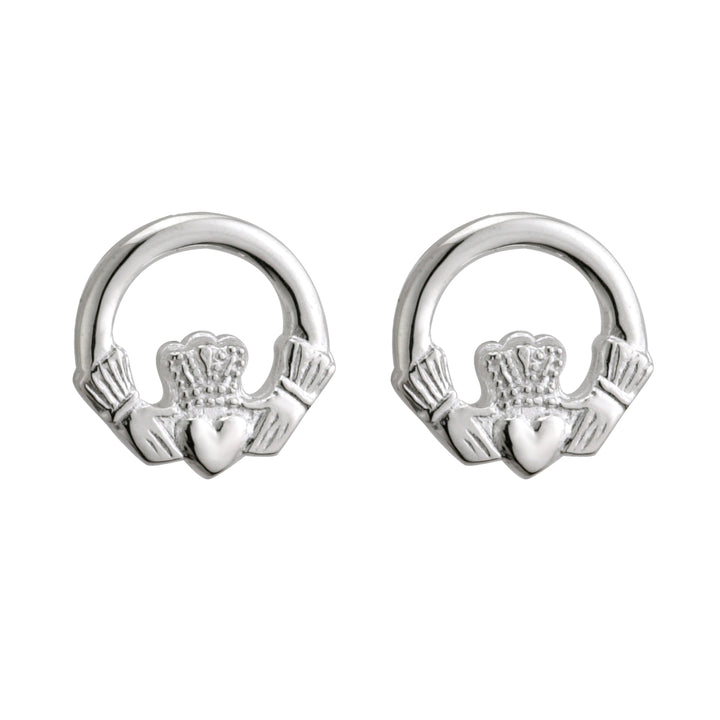 Claddagh Earrings For Women Silver Stud-Post Style
