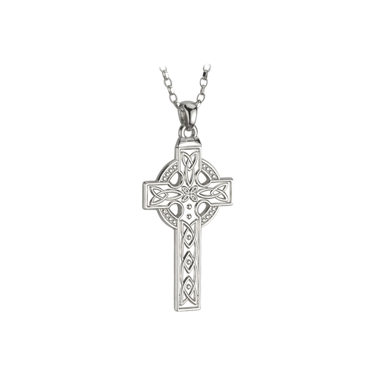 "Celtic Cross Sterling Silver Pendant with 20"" Silver Chain"