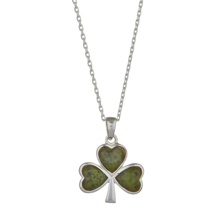 "Shamrock Sterling Silver Pendant with Irish Connemara Green Marble with 18"" Silver Chain"