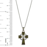Celtic Cross Sterling Silver with Irish Connemara Green Marble Pendant with 18 Inch Silver Chain