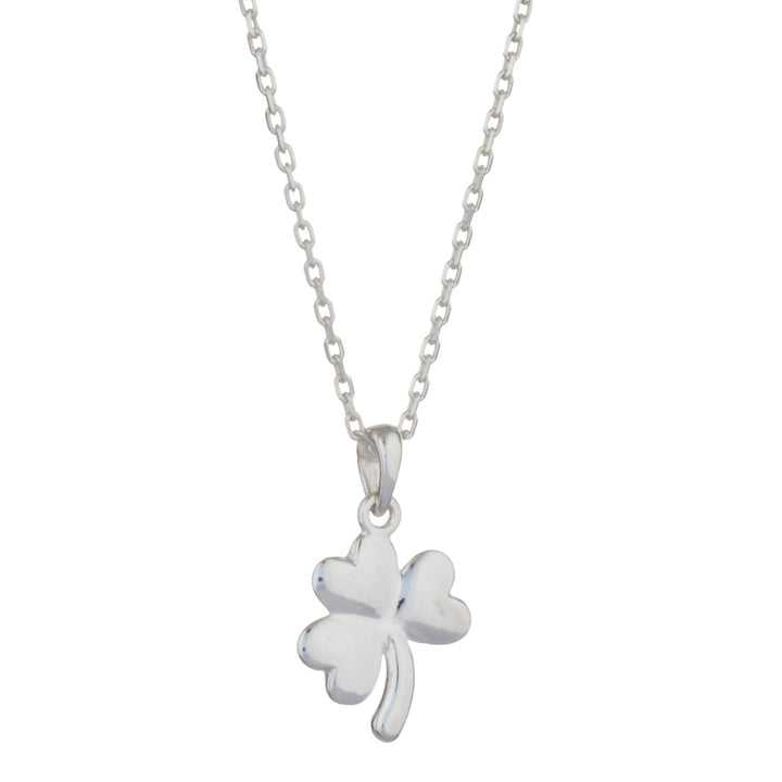 "Shamrock Pendant in Sterling Silver with 18"" Silver Chain"