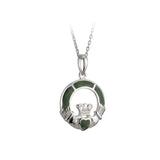 "Claddagh Sterling Silver Pendant with Connemara Green Marble with 18"" Silver Chain"