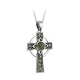Celtic Cross Sterling Silver with Irish Connemara Green Marble Pendant