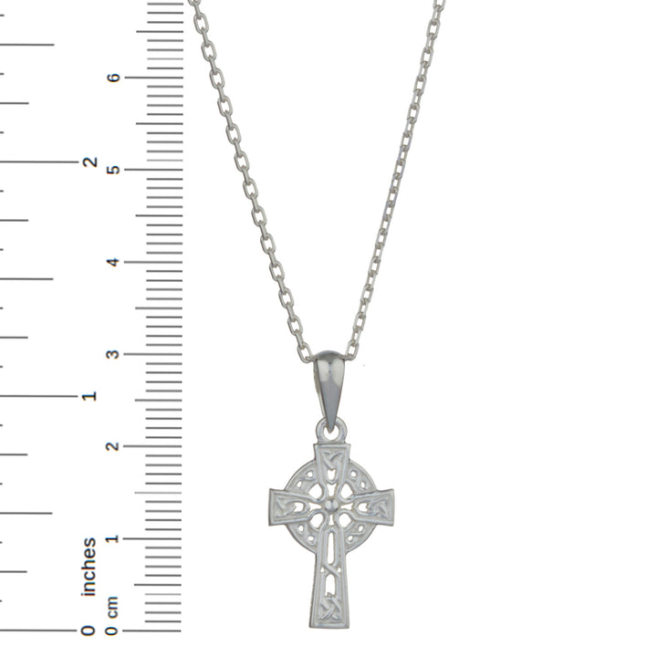 "Celtic Cross Sterling Silver Pendant with 18"" Silver Chain"