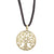 Tree of Life Gold Tone Pendant with Black Cord
