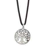Tree of Life Necklace Rhodium Plated Non Precious Metal with 19 Cotton Cord