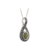 "Sterling Silver Irish Connemara Green Marble & Marcasite Pendant with 18"" Silver Chain"