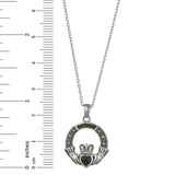 "Claddagh Sterling Silver Pendant with Marcasite & Irish Connemara Green Marble w/ 18"" Silver Chain"