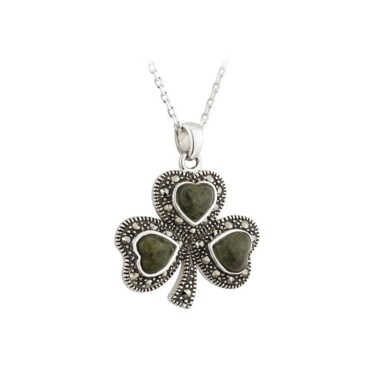 Shamrock Sterling Silver Pendant with Irish Connemara Green Marble