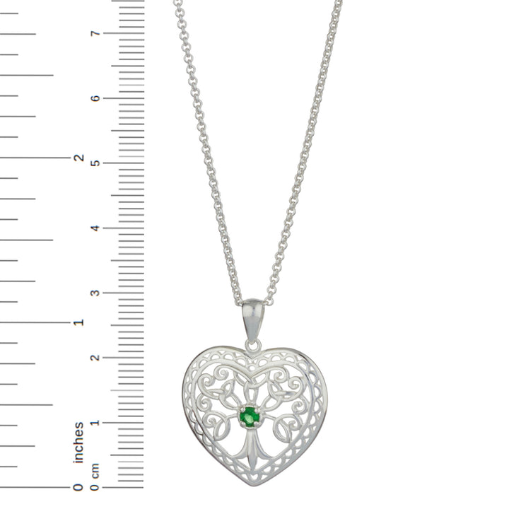 "Tree of Life Sterling Silver Heart Pendant with 18"" Silver Chain"