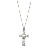 "Celtic Cross Pendant Silver incorporating Claddagh Necklace Design,18"" Silver Chain"