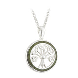 "Tree of Life Pendant Sterling Silver & Connemara Marble with 18"" Silver Chain"
