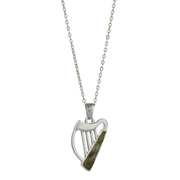 "Harp w/ Irish Connemara Green Marble Rhodium Plated Non Precious Metal Pendant & 18"" Rhodium Chain"