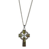 Celtic Cross with Irish Connemara Green Marble Pendant Rhodium Plated Base Metal