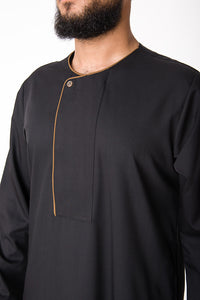 Black Piping Stud Omani - jubbascom