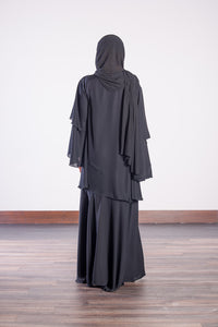 BLACK DOUBLE LAYERED ABAYA - jubbas.com