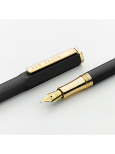 Ted Baker Gold Fountain Pen, Black Onyx